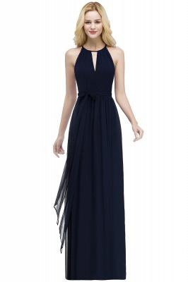 РОСАЛИНД | A-line Halter Floor Length Burgundy Bridesmaid Dresses with Bow Sash_5