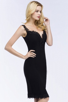 PAIGE | Mermaid Knee Length Sweetheart Sleeveless Black Appliques Homecoming Dresses_4