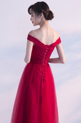 A-line Floor Length Off-the-shoulder Lace-up Ruffled Tulle Prom Dresses/Formal Evening Gowns  with Sash_4