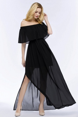 PANDORA | A-line Off-the-shoulder Floor Length Black Chiffon Bridesmaid Dresses_7