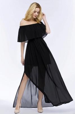 PANDORA | Una línea de hombro hasta el suelo palabra de longitud negro gasa vestidos de dama de honor_7