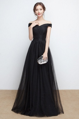 A-line Floor Length Off-the-shoulder Lace-up Ruffled Tulle Prom Dresses/Formal Evening Gowns  with Sash_2