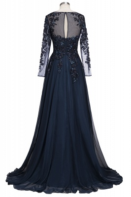 ROWENA | A-line Floor Length Long Sleeves Crystals Tulle Prom Dresses_3