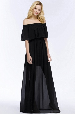 PANDORA | A-line Off-the-shoulder Floor Length Black Chiffon Bridesmaid Dresses_5