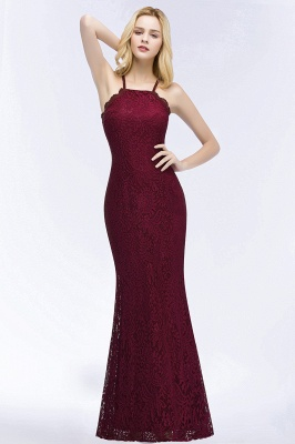 PATTI | Mermaid Floor Length Halter Lace Burgundy Bridesmaid Dresses_1