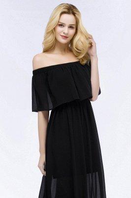 PANDORA | Uma linha off-a-ombro até o chão preto vestidos de dama de honra chiffon_6