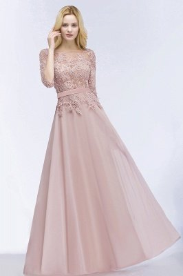 Lace Appliques Chiffon Long Bridesmaid Dresses with Sleeves_4
