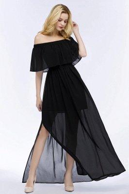 PANDORA | A-line Off-the-shoulder Floor Length Black Chiffon Bridesmaid Dresses_7