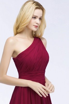 PATTIE | A-line One-shoulder Floor Length Burgundy Ruffled Chiffon Bridesmaid Dresses_9