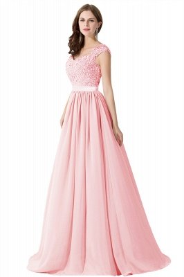 ADA | A-line V Neck Chiffon Bridesmaid Dress with Appliques_2