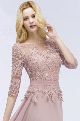 Lace Appliques Chiffon Long Bridesmaid Dresses with Sleeves_5