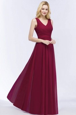 PATIENCE | A-line Floor Length V-neck Sleeveless Ruffled Chiffon Bridesmaid Dresses