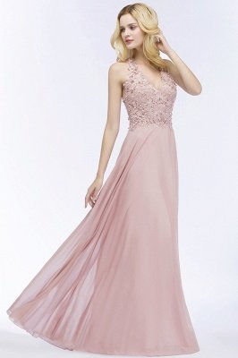 PAM | A-line V-neck Sleeveless Long Appliques Chiffon Bridesmaid Dresses_12