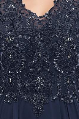 PATRICIA | Une ligne de v-cou sans manches longues appliques en mousseline de soie robes de bal avec des cristaux_10