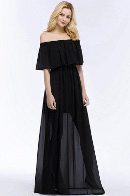 PANDORA | Uma linha off-a-ombro até o chão preto vestidos de dama de honra chiffon_5