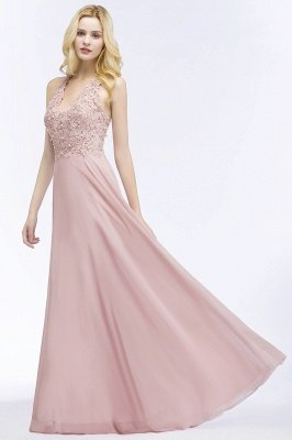 PAM | A-line V-neck Sleeveless Long Appliques Chiffon Bridesmaid Dresses_11