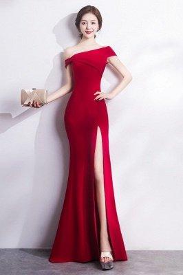 Mermaid Floor Length One-shoulder Slit Prom/Formal Evening Dresses_4