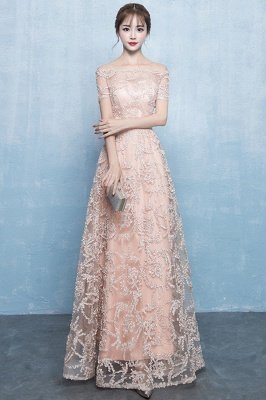 A-Linie Off-the-Schulter kurzen Ärmeln langen Perlen Applikationen Prom / formale Abendkleider_2