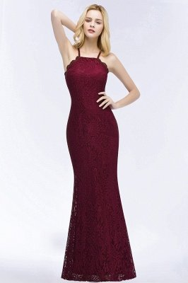 Mermaid Floor Length Halter Lace Burgundy Bridesmaid Dresses