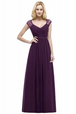 ROSALIA | A-line V-neck Floor Length Lace Chiffon Bridesmaid Dresses with Sash_2