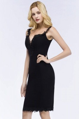 PAIGE | Mermaid Knee Length Sweetheart Sleeveless Black Appliques Homecoming Dresses_6