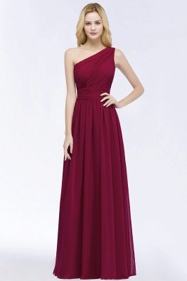PATTIE | A-line One-shoulder Floor Length Burgundy Ruffled Chiffon Bridesmaid Dresses_7