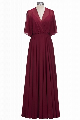 OLGA | A-line V-neck Floor Length Burgundy Chiffon Bridesmaid Dresses