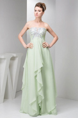 LAYLAH | A Type Heart-shaped Long Sleeveless Chiffon Grass Green Bridesmaid Dress with Layered
