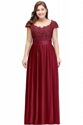 HOLLAND | A-Line Scoop Floor Length Cap Sleeves Appliques Silver plus size BridesmaidDresses with Sash_1
