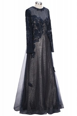 ODETTE | A-line Long Sleeves Floor Length Appliqued Tulle Prom Dresses