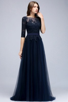 NANA | A-line Half Sleeves Floor Length Slit Appliqued Tulle Prom Dresses with Sash_4