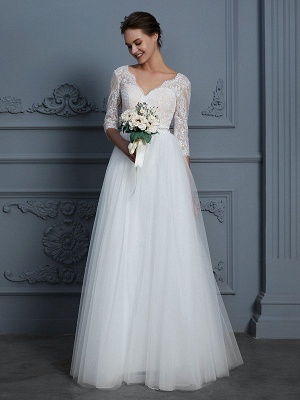 A-Line V-neck Floor-Length Ruffles Lace Tulle Wedding Dresses with sleeves