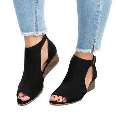 New Adjustable Buckle Casual Wedges Summer Sandals_11