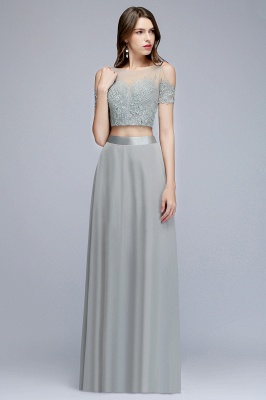 MADGE | A-line Two-piece Floor Length Appliqued Chiffon Prom Dresses_8