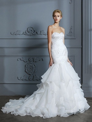Sweetheart Sleeveless Mermaid Ruffles Organza Sweep Train Wedding Dresses