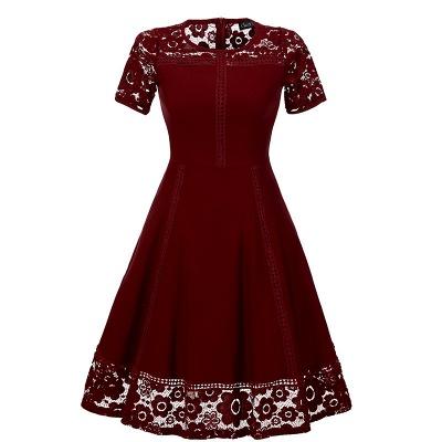 Elegant Women Round Neck Vintage Lace Dress Homecoming Dress_1