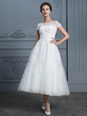 Short Sleeves Tea-Length A-Line Scoop Beading Tulle Wedding Dresses