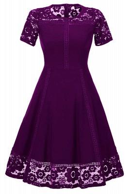 Elegant Women Round Neck Vintage Lace Dress Homecoming Dress_2