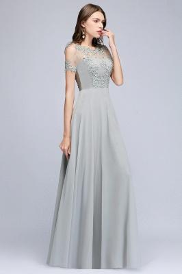 MAE | Una línea de ilusión escote largo apliques gasa prom vestidos