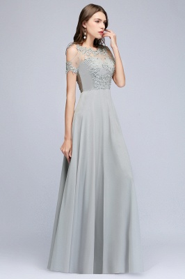 MAE | A-line Illusion Neckline Long Appliques Chiffon Prom Dresses