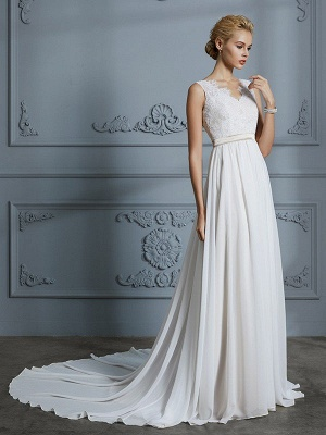V-neck Chiffon A-Line Sleeveless Court Train Wedding Dresses