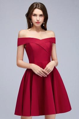 MAMIE | Una línea de hombro corto borgoña vestidos de regreso al hogar_9