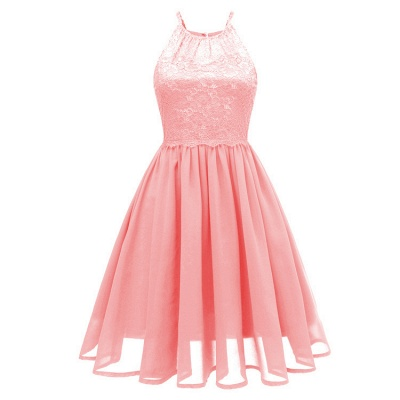 Pink Patchwork Condole Belt Lace Cut Out Round Neck Sweet Lace Dress_1