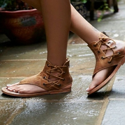 Lace-up Hollow-out Beach Tongs Sandales_7