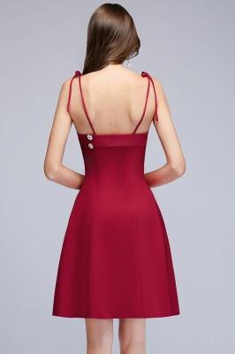 MALVINA | A linha de vestidos de baile de espaguete curto com decote em v Borgonha com botões_3