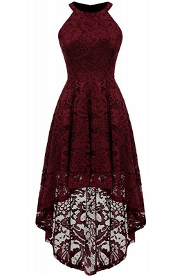 Lace Dress Female Robe Casual 1950s Rockabilly High Low Sleeveless Swing Summer Dresses_1