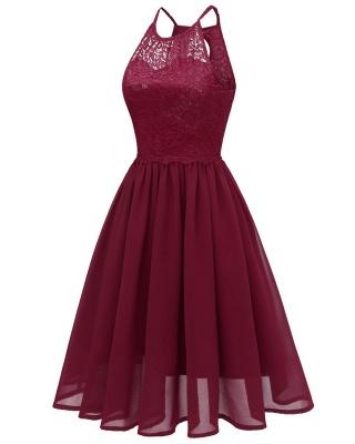 Pink Patchwork Condole Belt Lace Cut Out Round Neck Sweet Lace Dress_6