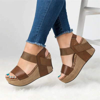 Double Straps Daily PU Peep Toe Wedge Sandals_1