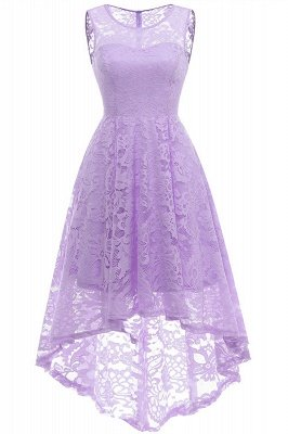 Women Floral Lace Bridesmaid Party Dress Short Prom Dress V Neck_6