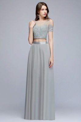 MADGE   A-line Two-piece Floor Length Appliqued Chiffon Prom Dresses_7